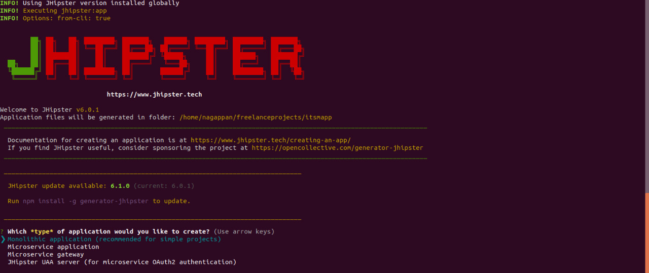 JHipster - Generate simple web application code using Spring