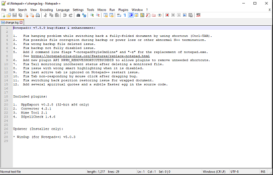 Notepad plus text editor